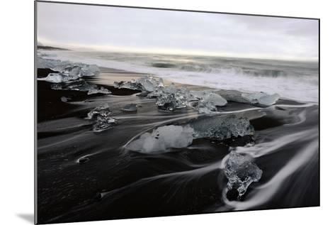 Blocks of Icebergs on Black Sand Beach in Iceland-Raul Touzon-Mounted Photographic Print