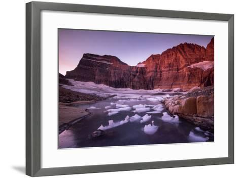 Fragments of Recently Calved Ice Float at the Foot of Grinnell Glacier-Keith Ladzinski-Framed Art Print