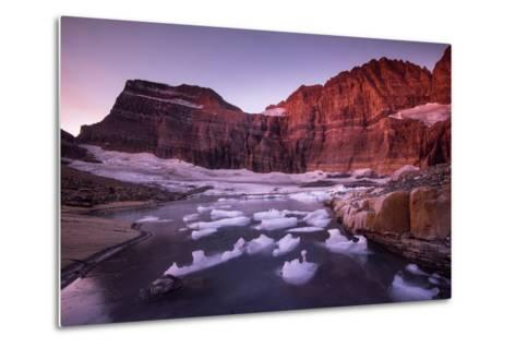 Fragments of Recently Calved Ice Float at the Foot of Grinnell Glacier-Keith Ladzinski-Metal Print