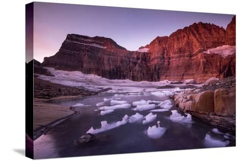 Fragments of Recently Calved Ice Float at the Foot of Grinnell Glacier-Keith Ladzinski-Stretched Canvas Print