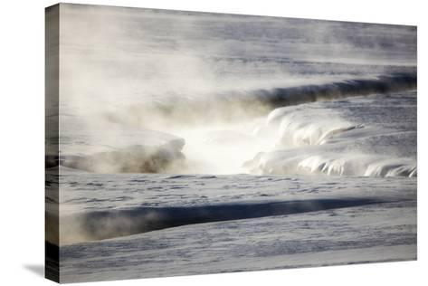 Steam Rises Off the Warm Water Flowing Through a Yellowstone Valley-Robbie George-Stretched Canvas Print