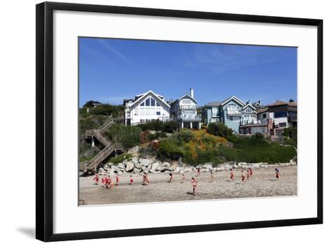 Children Running on the Beach of Capitola, California, USA-Jill Schneider-Framed Art Print