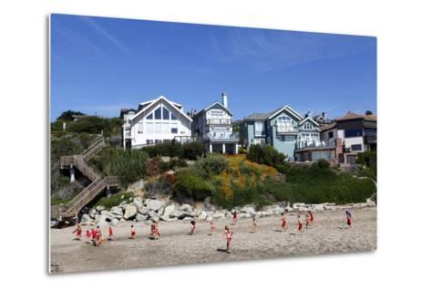 Children Running on the Beach of Capitola, California, USA-Jill Schneider-Metal Print