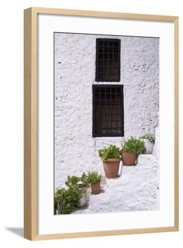 Potted Plants Line the White-Washed Stairways at the National Ethnographic Museum-Krista Rossow-Framed Art Print