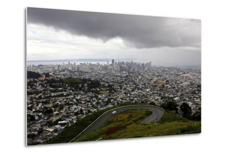 View of a Storm Approaching San Francisco from the Top of Twin Peaks-Jill Schneider-Metal Print