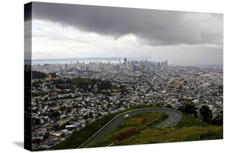 View of a Storm Approaching San Francisco from the Top of Twin Peaks-Jill Schneider-Stretched Canvas Print