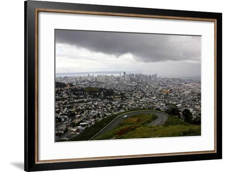 View of a Storm Approaching San Francisco from the Top of Twin Peaks-Jill Schneider-Framed Art Print