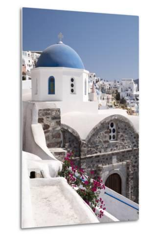 A Classic Blue Dome of a Greek Orthodox Church in the Picturesque Town of Oia, Santorini-Krista Rossow-Metal Print