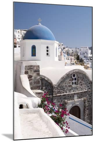 A Classic Blue Dome of a Greek Orthodox Church in the Picturesque Town of Oia, Santorini-Krista Rossow-Mounted Photographic Print