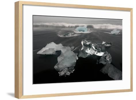 Icebergs and Ice on Black Beach in Iceland-Raul Touzon-Framed Art Print