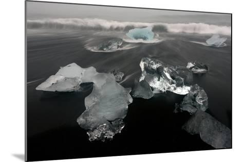 Icebergs and Ice on Black Beach in Iceland-Raul Touzon-Mounted Photographic Print