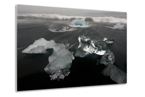 Icebergs and Ice on Black Beach in Iceland-Raul Touzon-Metal Print