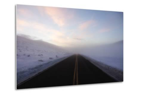 A Bare Roadway Stretches Out into the Misty Frost-Robbie George-Metal Print