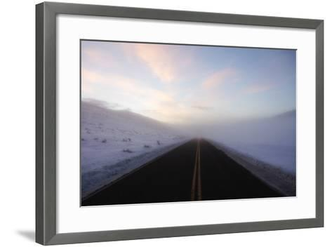 A Bare Roadway Stretches Out into the Misty Frost-Robbie George-Framed Art Print