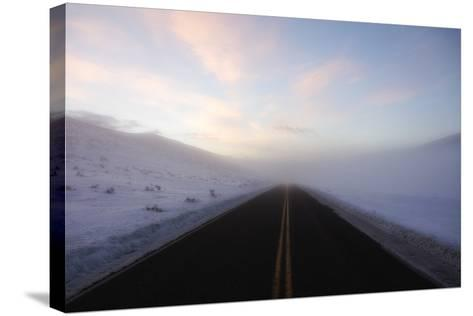 A Bare Roadway Stretches Out into the Misty Frost-Robbie George-Stretched Canvas Print