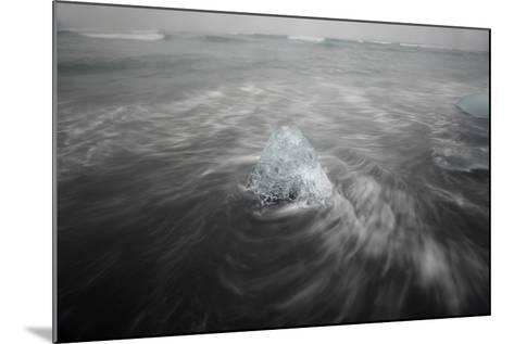 Iceberg on Black Sand Beach in Iceland-Raul Touzon-Mounted Photographic Print