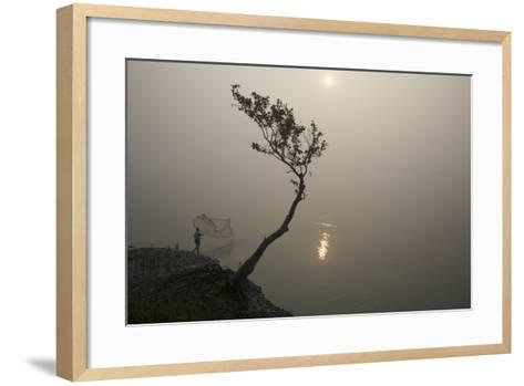 A Fisherman Casts a Net in India's Sundarbans Region-Steve Winter-Framed Art Print