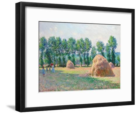 Heuschober in Giverny (Les Meules à Giverny). 1885-Claude Monet-Framed Art Print
