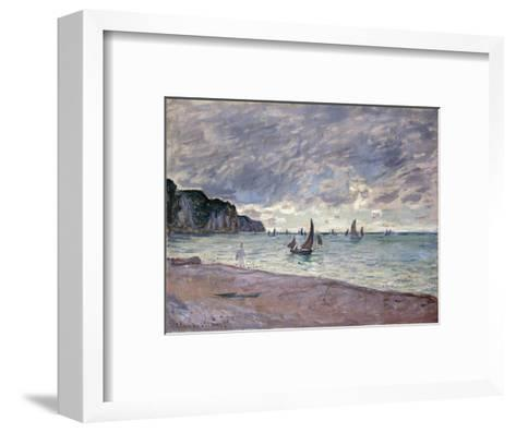 Fishing Boats in front of the Beach and Cliffs of Pourville-Claude Monet-Framed Art Print