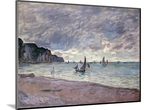 Fishing Boats in front of the Beach and Cliffs of Pourville-Claude Monet-Mounted Giclee Print