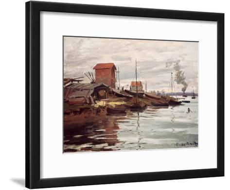 The Seine at Petit-Gennevilliers. La Siene au Petit-Gennevilliers. 1872-Claude Monet-Framed Art Print