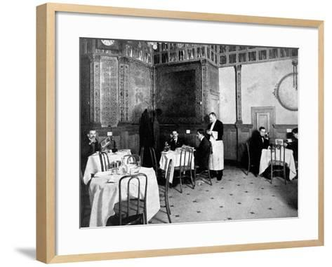 Restaurant Scene from 1910 Showing One Diner Using a Telephone at His Table--Framed Art Print