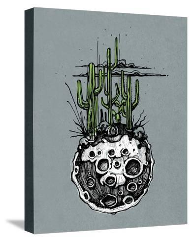 Hand Drawn Illustration or Drawing of a Moon with Some Cactus and Desert Plants on It-bernardojbp-Stretched Canvas Print