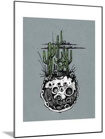 Hand Drawn Illustration or Drawing of a Moon with Some Cactus and Desert Plants on It-bernardojbp-Mounted Art Print