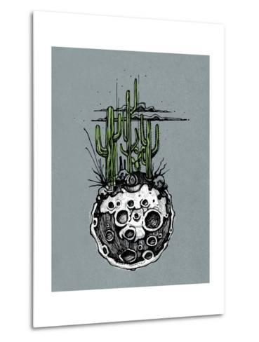Hand Drawn Illustration or Drawing of a Moon with Some Cactus and Desert Plants on It-bernardojbp-Metal Print