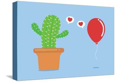 Cactus Have Foolish Love with Balloon-Solar22-Stretched Canvas Print
