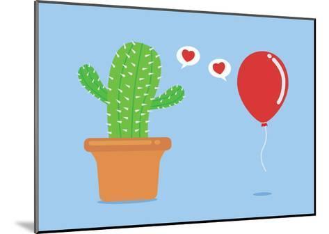 Cactus Have Foolish Love with Balloon-Solar22-Mounted Art Print