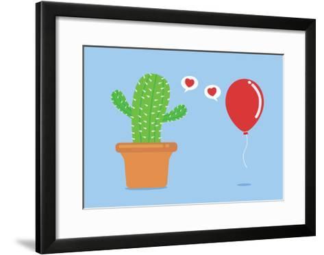 Cactus Have Foolish Love with Balloon-Solar22-Framed Art Print