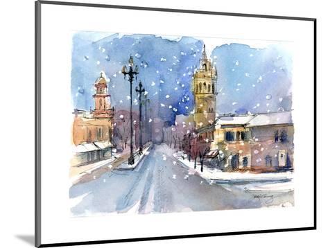 Plaza in Winter, 2015-John Keeling-Mounted Giclee Print