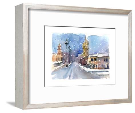 Plaza in Winter, 2015-John Keeling-Framed Art Print