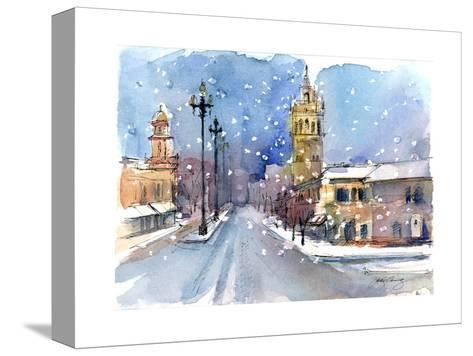 Plaza in Winter, 2015-John Keeling-Stretched Canvas Print