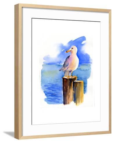 Seagull on Dock, 2014-John Keeling-Framed Art Print