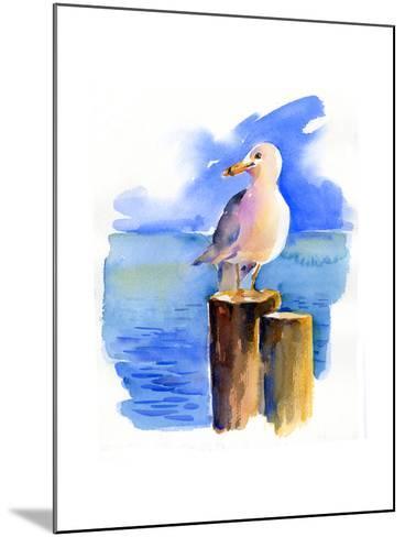 Seagull on Dock, 2014-John Keeling-Mounted Giclee Print