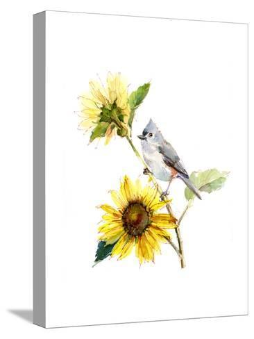 Titmouse with Sunflower, 2016-John Keeling-Stretched Canvas Print