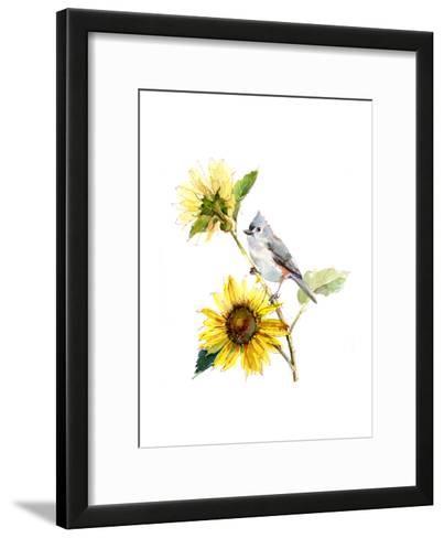 Titmouse with Sunflower, 2016-John Keeling-Framed Art Print