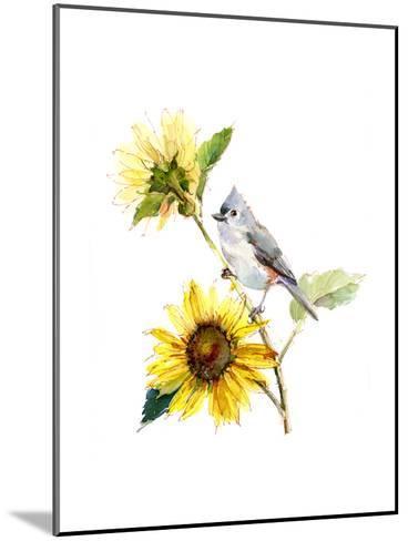 Titmouse with Sunflower, 2016-John Keeling-Mounted Giclee Print