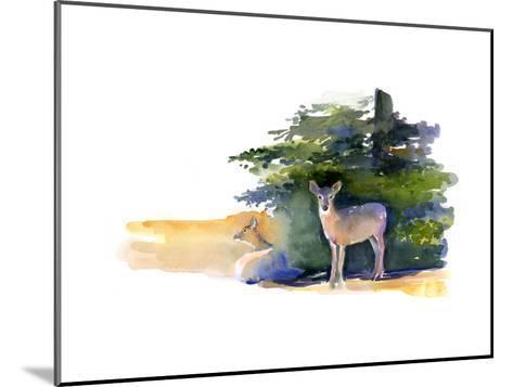 Two Deer, 2014-John Keeling-Mounted Giclee Print