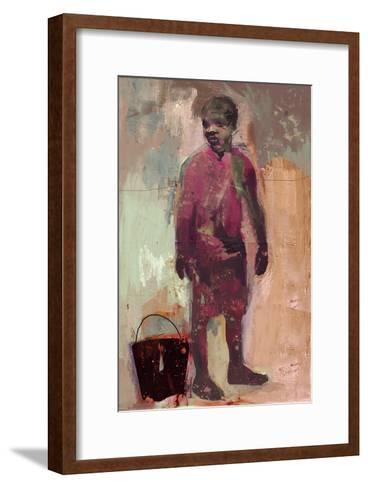 Boy and Water Bucket 2016-David McConochie-Framed Art Print