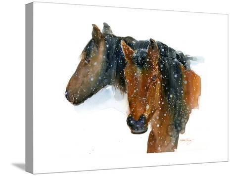 Horses in Winter, 2015-John Keeling-Stretched Canvas Print