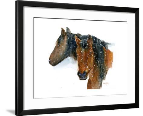 Horses in Winter, 2015-John Keeling-Framed Art Print