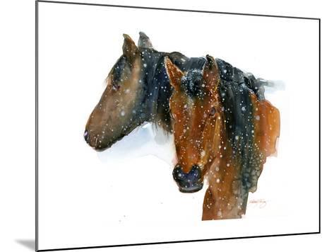 Horses in Winter, 2015-John Keeling-Mounted Giclee Print