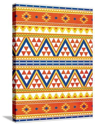 Aztec Pattern Colors-Jace Grey-Stretched Canvas Print