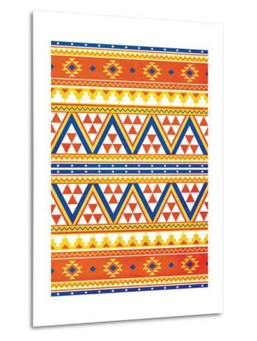 Aztec Pattern Colors-Jace Grey-Metal Print