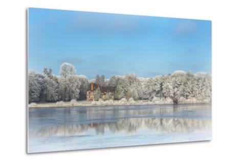 broceliande castle in winter morning-Phillipe Manguin-Metal Print