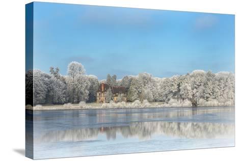 broceliande castle in winter morning-Phillipe Manguin-Stretched Canvas Print