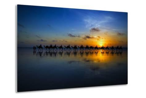 Sunset Camel Ride-Louise Wolbers-Metal Print